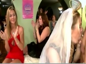 Bride to be eats cock as others go down on stripper cock free
