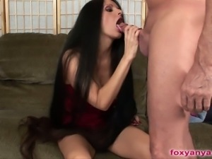 Foxy anya blows a cock before masturbating