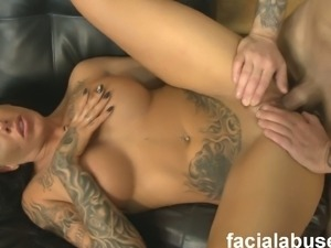 Busty tattooed brunette pounded hard