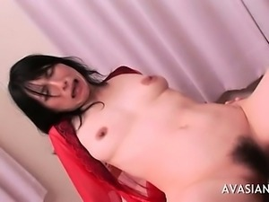 Lady In Red Satin Gets Anal Drilled
