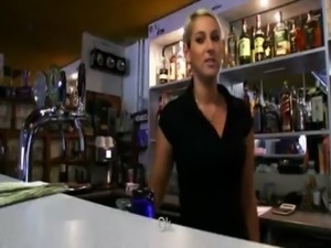 Real amateur blondie barmaid Lenka nailed for a chunk of cash free