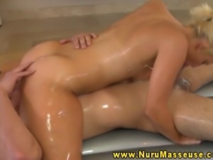 Blonde masseuse babe spoils dude with BJ after oily massage