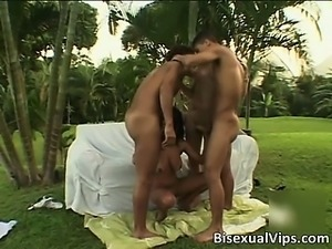 Nasty brunette bisexual slut blows stiff