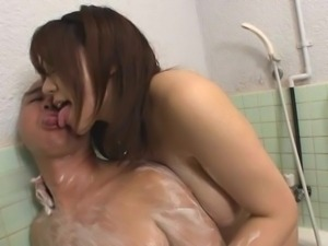 showering with her big boobs