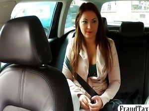 Big tits amateur tricked into sex by her taxi