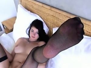 blackhair babe opening gaped snatch