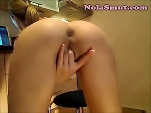 Blonde Girl Spreads Ass Cheeks