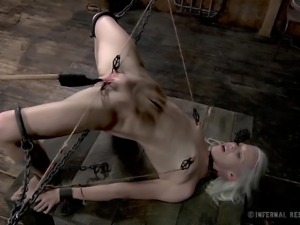 blonde bitch has pussy lips stretched apart