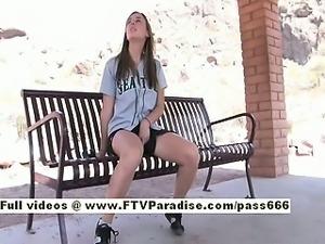 Francis long hair cute babe public flashing tits and ass