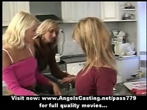 Amazingly sexy blonde lesbians undressing and licking tits and pussy
