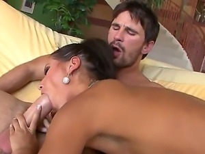 Mulatto brunette Angel Dark preparing Manuel Ferraras dick for an anal adventure