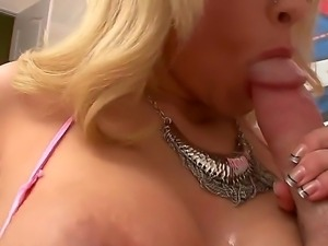 Sexy slut Jessica Nyx licking a trimmed hard penis.