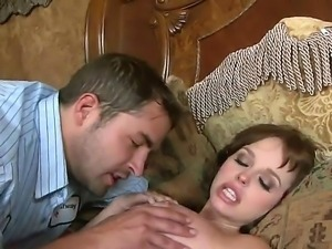 Superb Hayden Winters lets horny stud to slowly lick her cunt before getting...