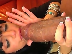 Sadie West enjoys the biggest cock of her life deepthroating and sucking it...