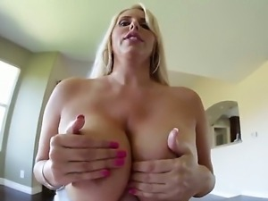 Busty pornstar Karen Fisher sucks a cock and gets an aamzing and sweet creampie