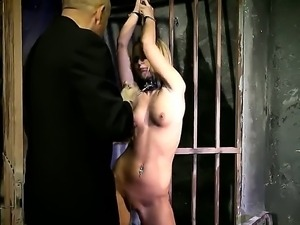 Bound slutty babe Vanda sucks a huge cock and gets her cunt finger fucked by...