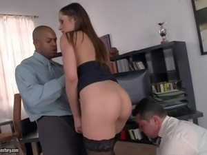 Young arousing brunette secretary Ashley with natural boobs and steaming