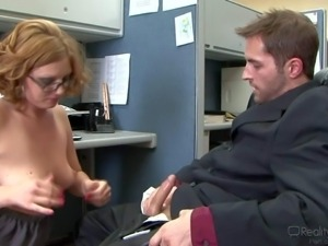 Ava Rose is a lovely bespectacled office slut with natural