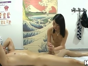 The attractive brunette pornstar Evelyn Lin make a massage to the Qdee and...