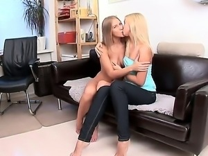 Take a look at two young lesbian whores Hailey and Malia kissing and touching...