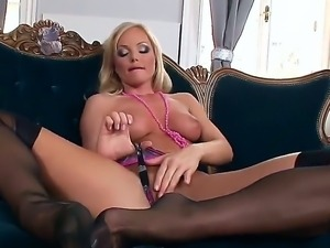 The so sexy and glamorous blonde Silvia Saint in black seductive stockings...