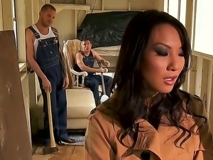 Asian Asa Akira get brutaly fucked by horny males Mick Blue and Scott Nails