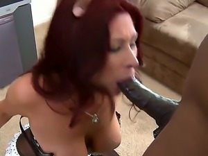 Sweet redhead Tiffany Mynx gets hard pounded by a group of hot black studs