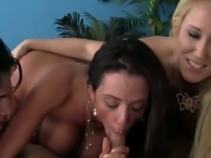 Three busty cougars fuck younger man