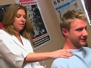 The beginning of hot group fuck in massage salon where lucky man will fucl...