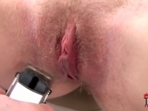 Naked blonde Tangi with tanlined natural tits gets her bush