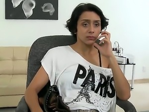 Young Latin chick came with her natural boobs at the casting and opens wide...