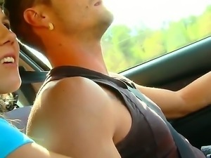 Yaiza Del Mar is so horny that she starts to suck my dick while I was driving...
