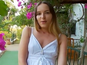 Amateur chick named Ivana rubs her gorgeous pussy and masturbates with her...