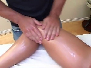 Busty blondie Nicole Aniston gets her sappy body oiled and her hairy pussy...