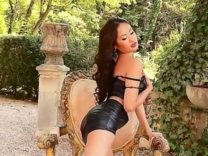 Adorable experienced asian slut Danika in arousing black outfit and high...