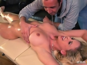 oiled up milf makes her masseur horny