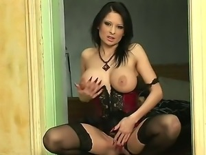 Fascinating brunette temptress Alison Star is extra-hot lingerie and corset...