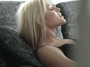 Look at beautiful blonde sex kitten Sweet Cat doing wild thing in ncie stockings