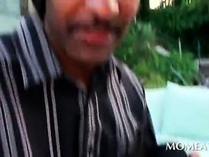 POV brunette mommy blows and rubs huge black cock