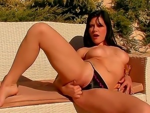 Magnificent housewife Whitneys pool side solo play make her lovely nipples...
