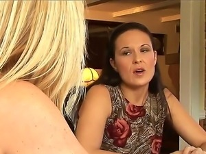 Two attractive MILF whores Elexis Monroe and Ginger Lynn talk about a big...