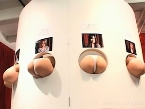 Hot ass japanese sex dolls pussy teased with strings