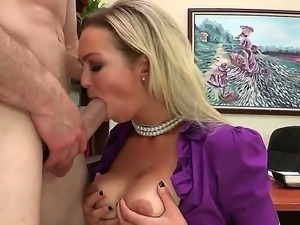Horny blonde secretary Abbey Brooks gets down and deep sucks her bosss huge dick
