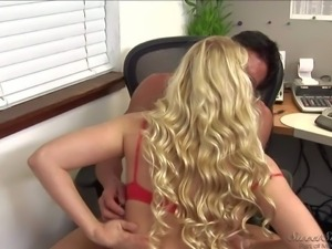 Curly haired blond schoolgirl Jessie Andrews with tiny tits gives