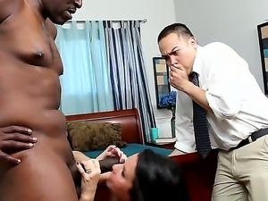 Lex Steele destroying pretty brunette Veronica Avluv by huge ebony stick