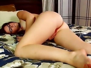 Sexy student chick in hot glasses Aubrey James furiously rubs her pink gentle...