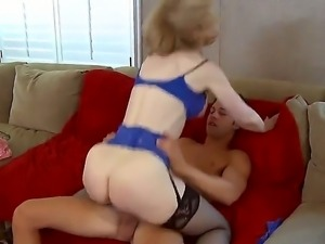 Busty and gorgeous milf Nina Hartley craves to get a young Seth Gambles cock