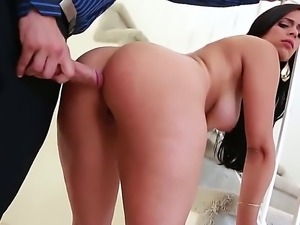 Mick BLue enjoys having brunette sexy Nadia Lopez deep sucking his long dick