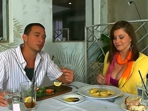 Buxom sexy chick Sara Stone hooked up with young guy Nick Churches