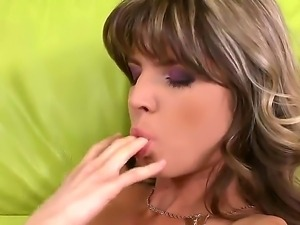 Doris Ivy and Tina Blade fondling and caressing their ideally shaved pussies